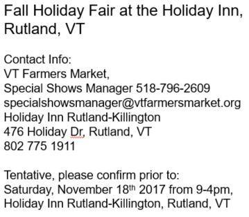 rutland vermont holiday craft sale show fair inn fall