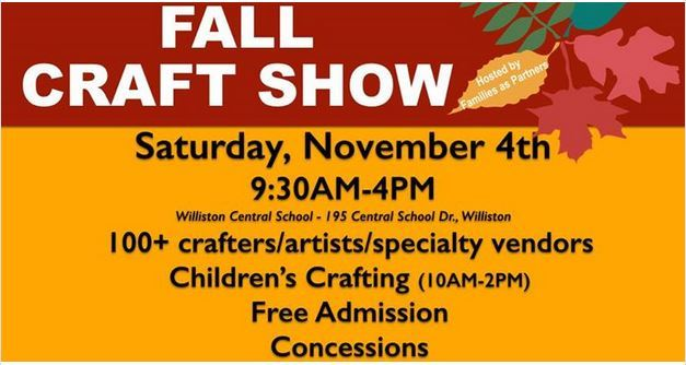 Logo for the Williston Vermont 2017 Fall Craft Show with multicolor leaves, Sat Nov 4th.