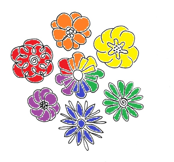 Seven flowers in a color wheel circle with primary and secondary colors.