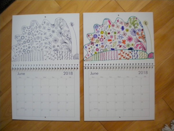 2018 calendar, color yourself, adult coloring book, you color, wall calendar, hanging calendar, monthly calendar
