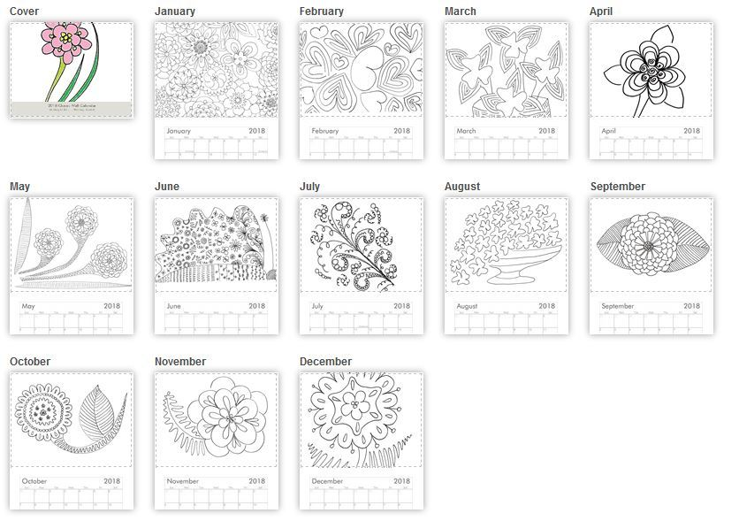 Adult coloring book, Color yourself, black and white, B&W, Flowers, Floral, calendar, wall hanging calendar, 2018 calendar