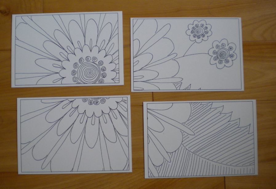 Photo of the 4in1-2 mosaic, 4-Tiles of postcards that form a puzzle.  Color them the same or each di