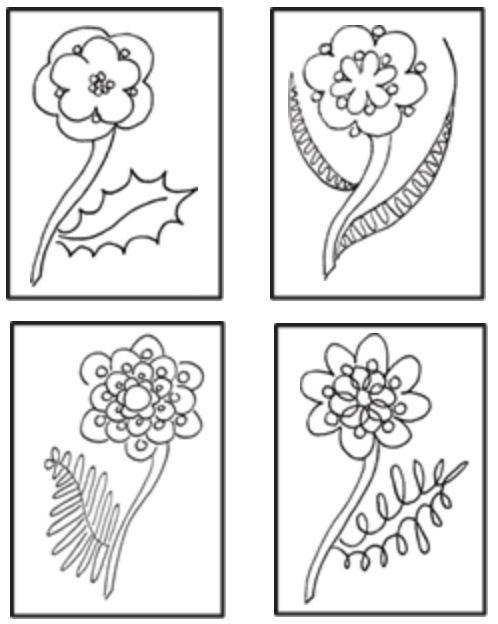 Four black and white flowers and leaves with berries in them.  Each flower and leaf is different and