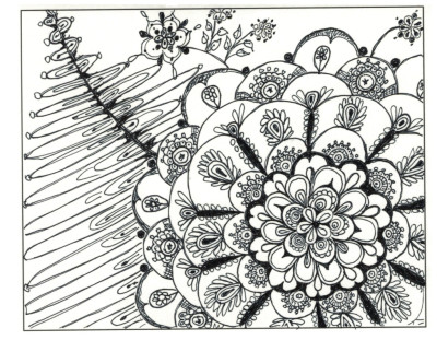 "An example card of the 4in1-31 full flower used imaginatively as the ""strings"" for a Zentangle ™."