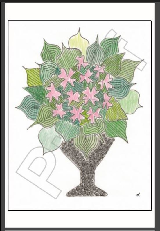 Proof showing a Zentangle ™ vase with green leaves and pink flowers – reminds me of Hawaii!