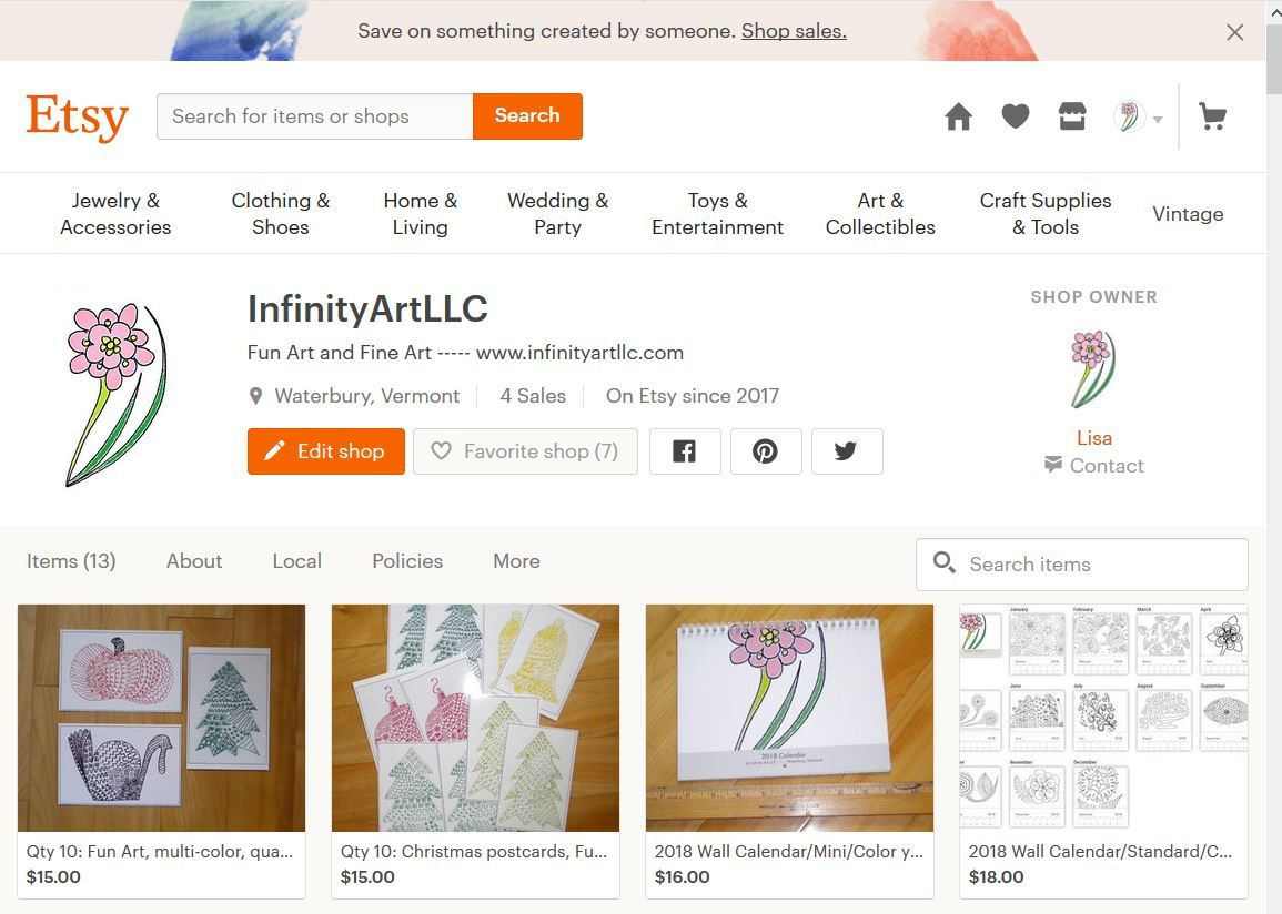 A snippit of my etsy website front page with the featured items and their prices.
