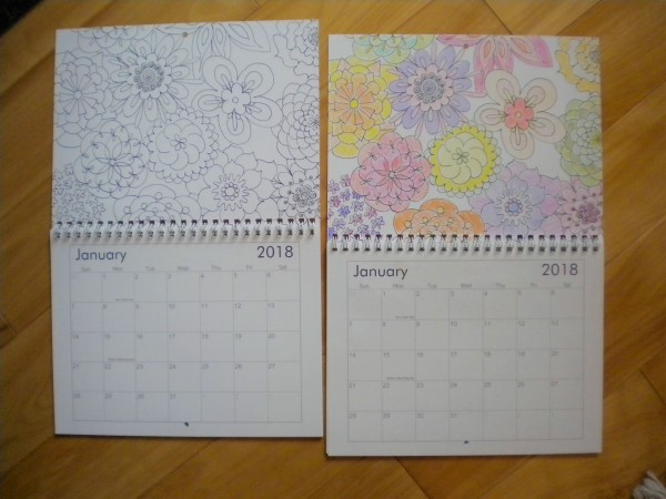 Photo of two Mini-calendars side by side, Jan 2018, with many flowers, one colored in, one not.