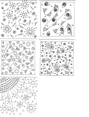 Scan of 5 Zentangle ™ squares as coaster artwork.