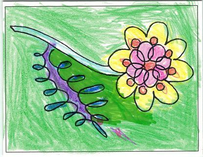 Berry 14 of Berry Delicious example card with ink marker and crayon done by my niece so she could pr