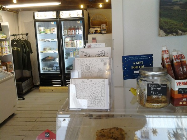 Photo of cards on display inside the Provisionary shop in Vergennes, VT