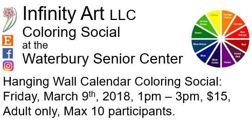Snippit showing the Calendar Coloring Social at the Waterbury Senior Center with color wheel.