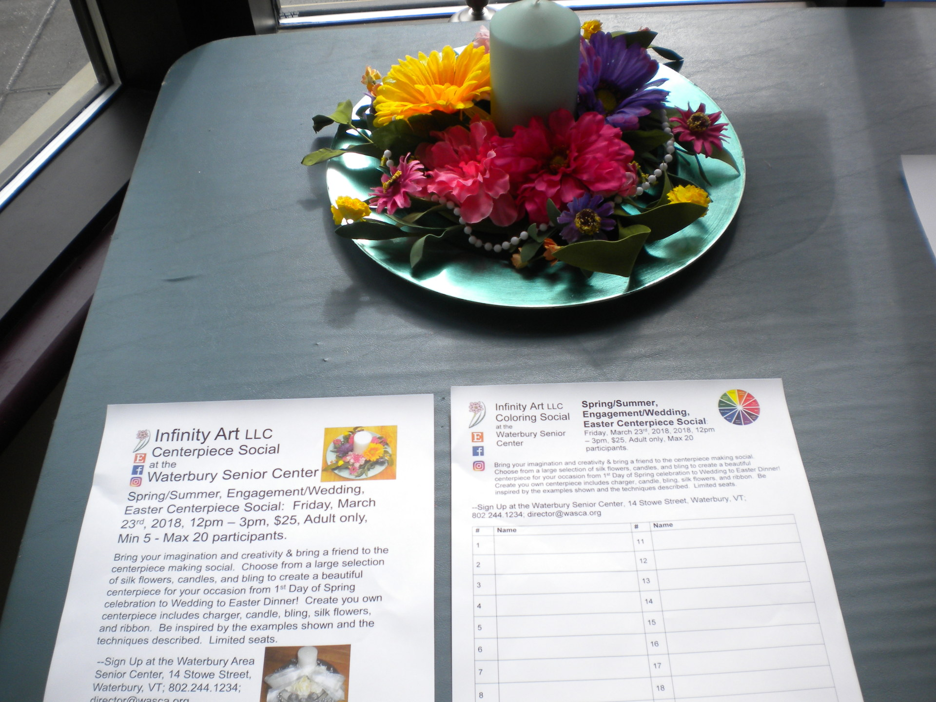 Photo of Centerpiece Social example and sign up sheet at the Waterbury Area Senior Center, VT.