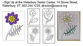 Snippit of Easter Card coloring flyer with 2 example cards and the 4 berry designs to select from.