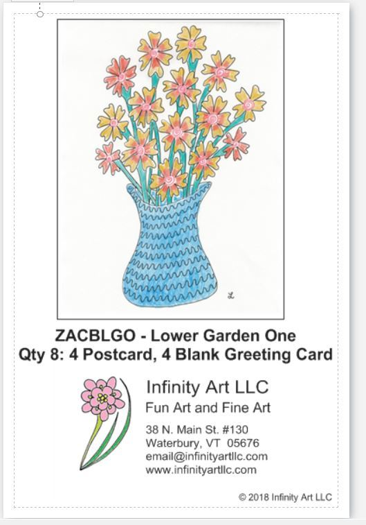 Definition postcard showing a Zentangle ™ vase with orange and yellow flowers in blue vase