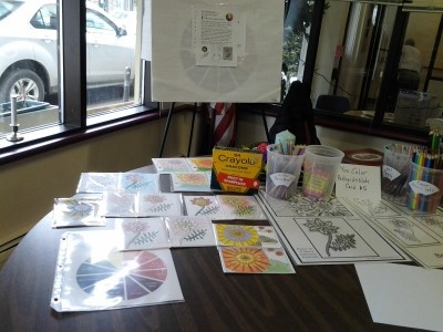 Photo of 2Easter Berry Card coloring table with coloring instruments and examples.