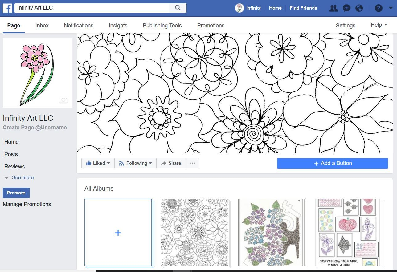 ClipArt of Infinity Art LLC Business Facebook page.