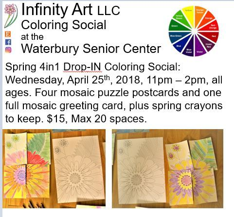 Photo of the advertisement flyer for Wed, Mar 25th, 11am-2pm coloring social.