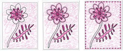 Photo of the pink and maroon Mother's Day examples for Wed, May 9th, 11am-2pm coloring social.
