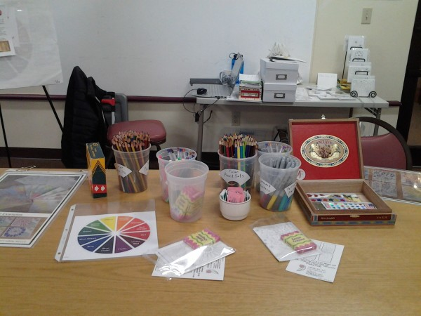 Photo of the set up for Wed, Mar 25th, 11am-2pm coloring social.