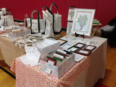 Photo of booth set up at the CVUHS Handcrafters Fair, Hinesburg, VT