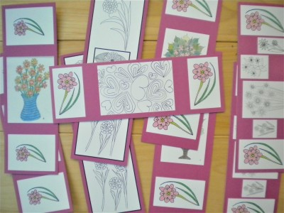 Photo of 9 fun art, bookmarks some in black and white and some multi-color.