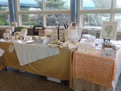 Photo of my booth at the Spring Craft Fair at Mountain View Center in Rutland VT in the garden room