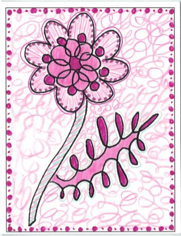 Photo of the Berry 14, colored in Pinks to make a Mother's Day card.
