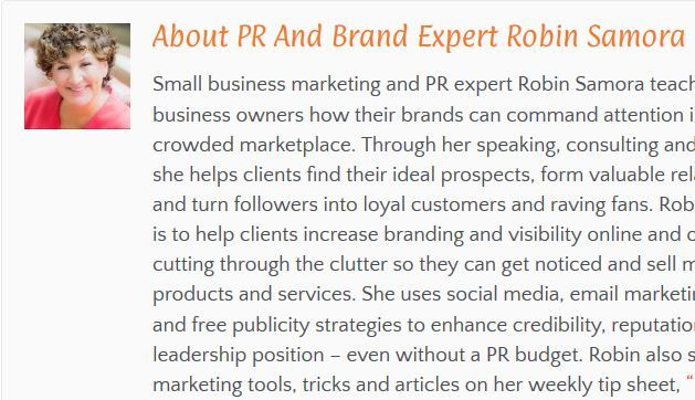 Snipit of the Bio on Robin Samora, Small business marketing and PR expert from the SBDC of the SBA