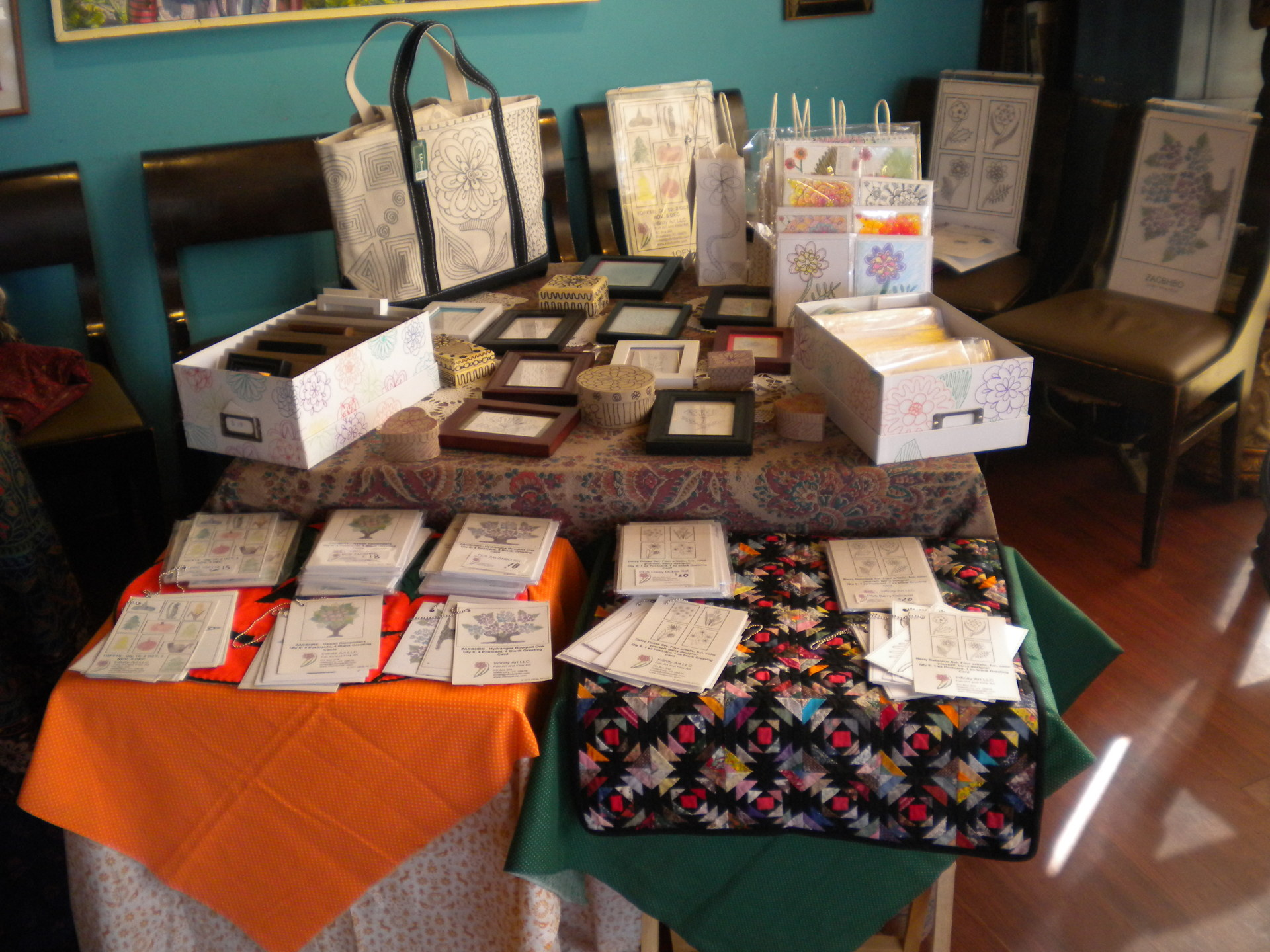 Photo of my table set up at the Tiny Makers Market at the Riverwalk Café, Nashua, NH, Sun 22 Oct 17