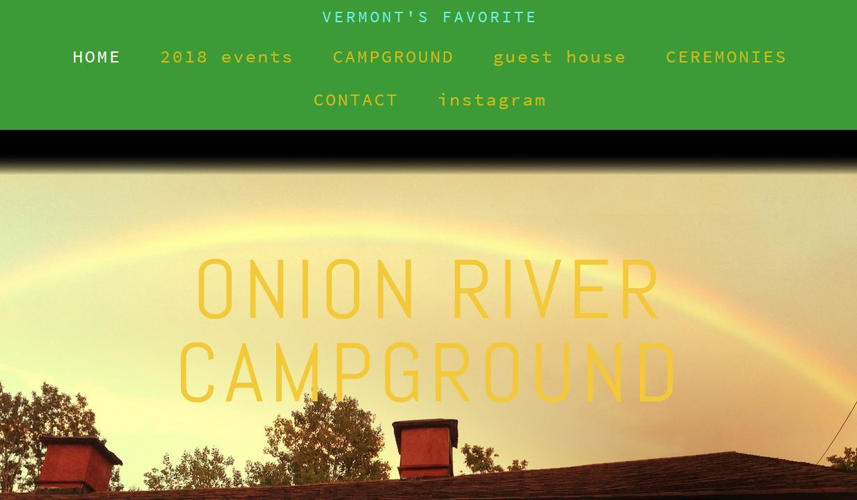 Snipit of the Onion River Campground Homepage on their website.