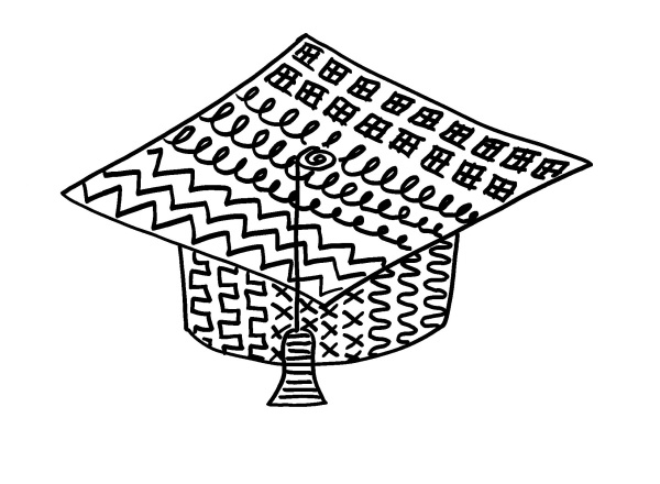 Photo of a fun art graduation cap with tassle.