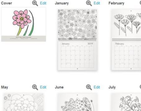 Proof of cover and 12 calendar pages for the mini sized, wall hanging, coloring calendar.