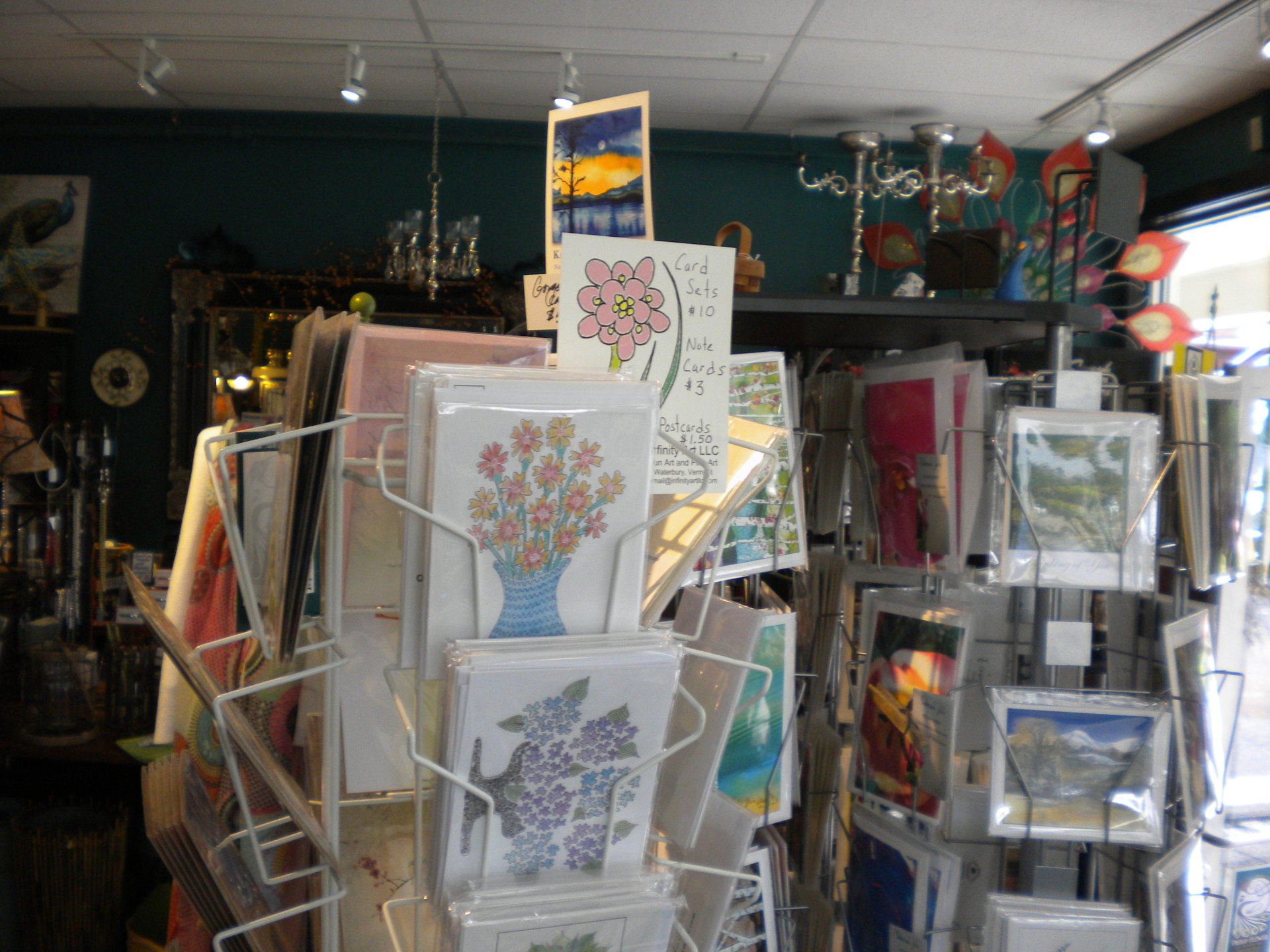 Photo of my cards in a rounder with my logo at Proud Flower, 80 South Main Street, Waterbury, VT