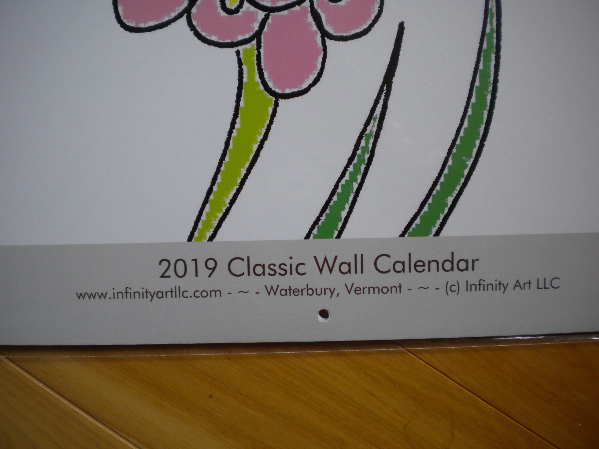 Photo of cover for the 2019, Classic size, wall hanging, coloring calendar. by Infinity Art LLC