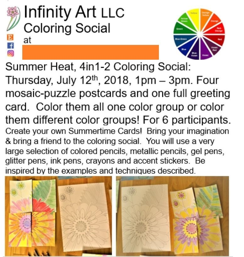 Clip from the Infinity Art LLC Coloring Social flyer for a private event.
