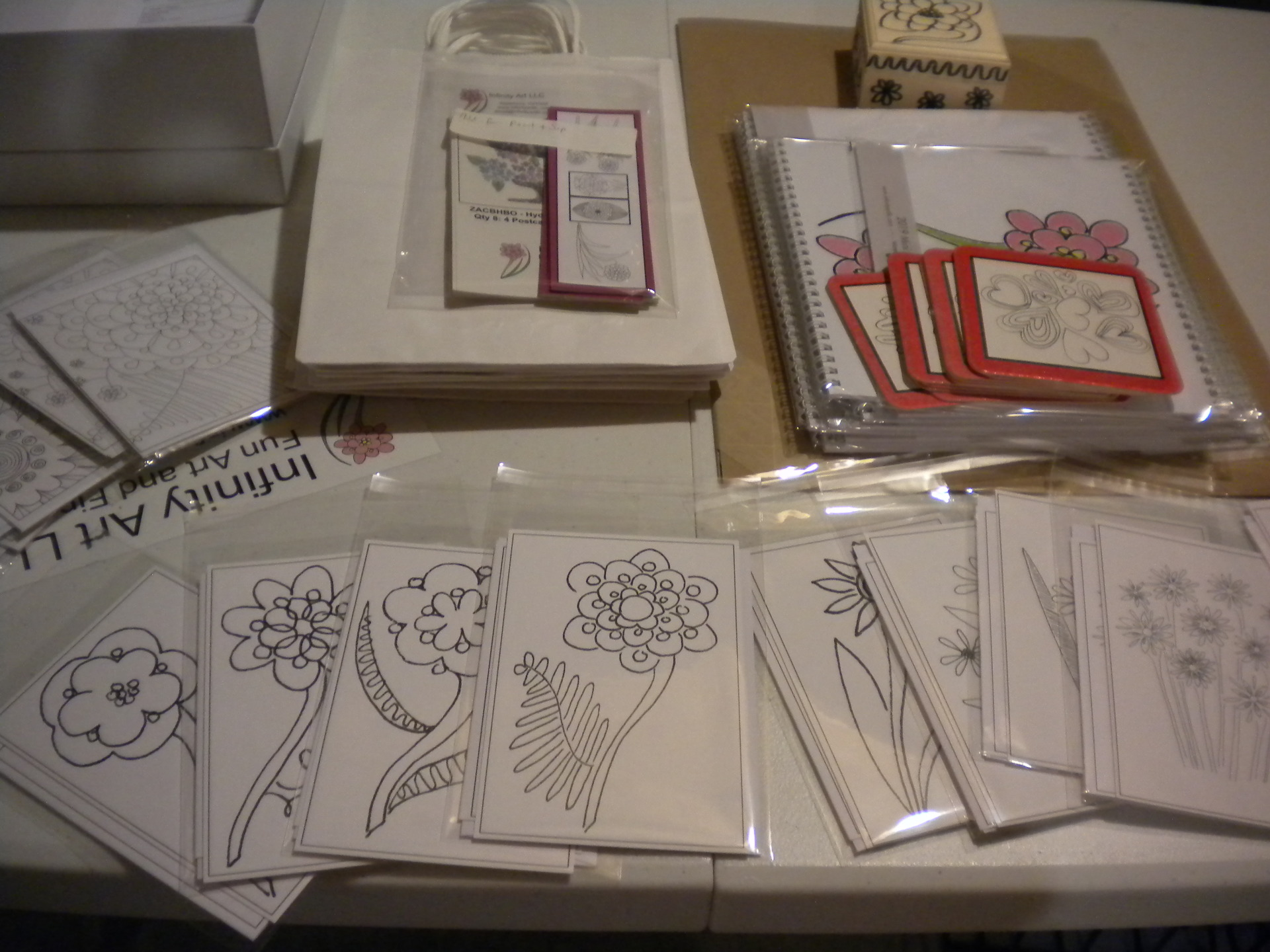 Photo of a whole smorgasbord of coloring goodies for a coloring party for a private event.
