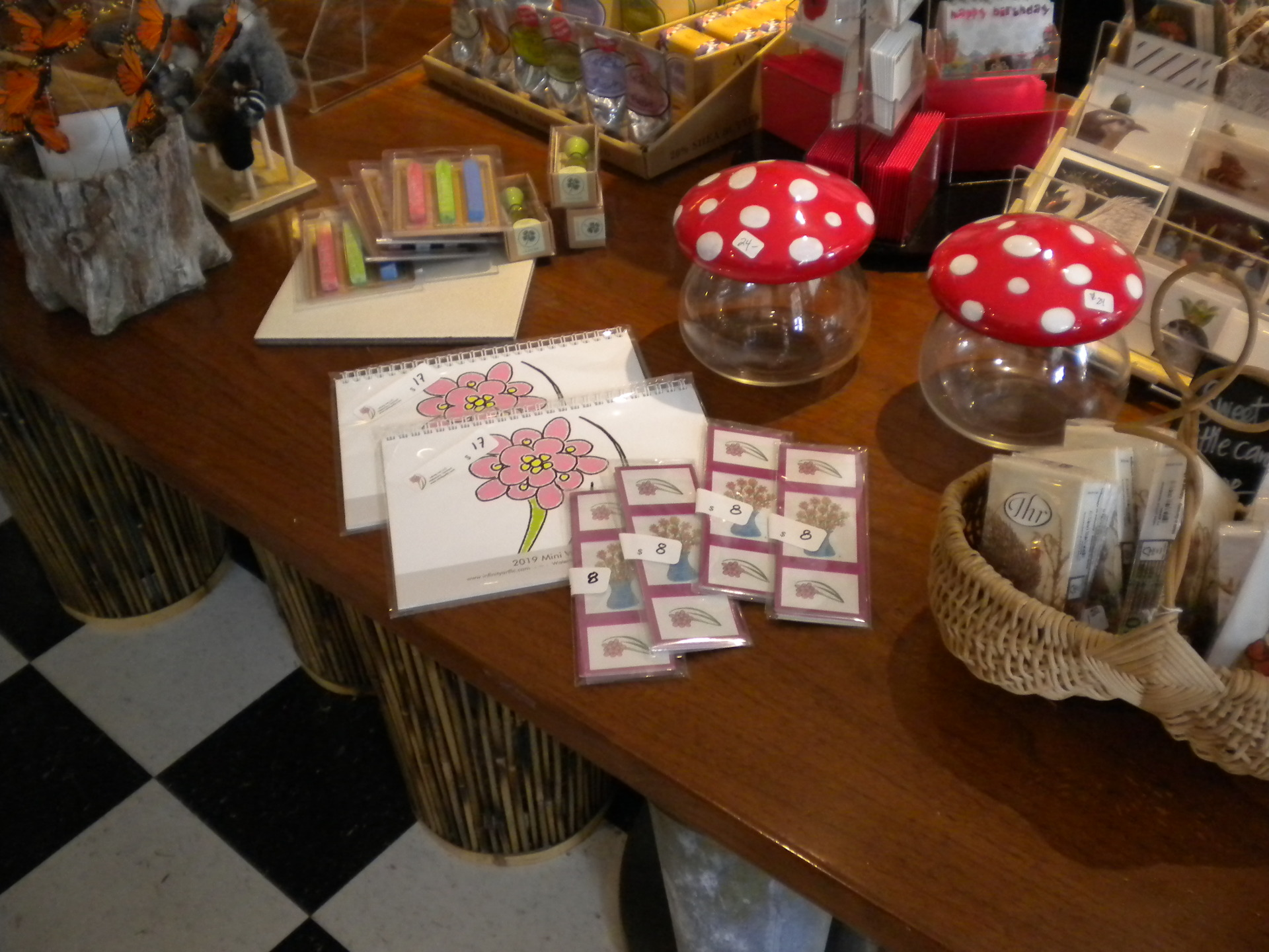 Photo of the 2019 Mini Calendar and Bookmarks sets at Proud Flower, Waterbury VT.