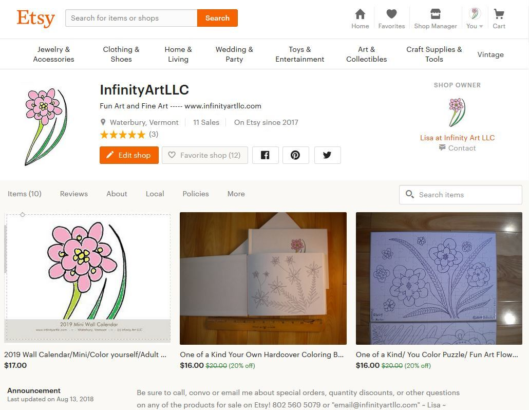 Clip of my Etsy store with the two sale items featured - a mini coloring book and a large puzzle : )