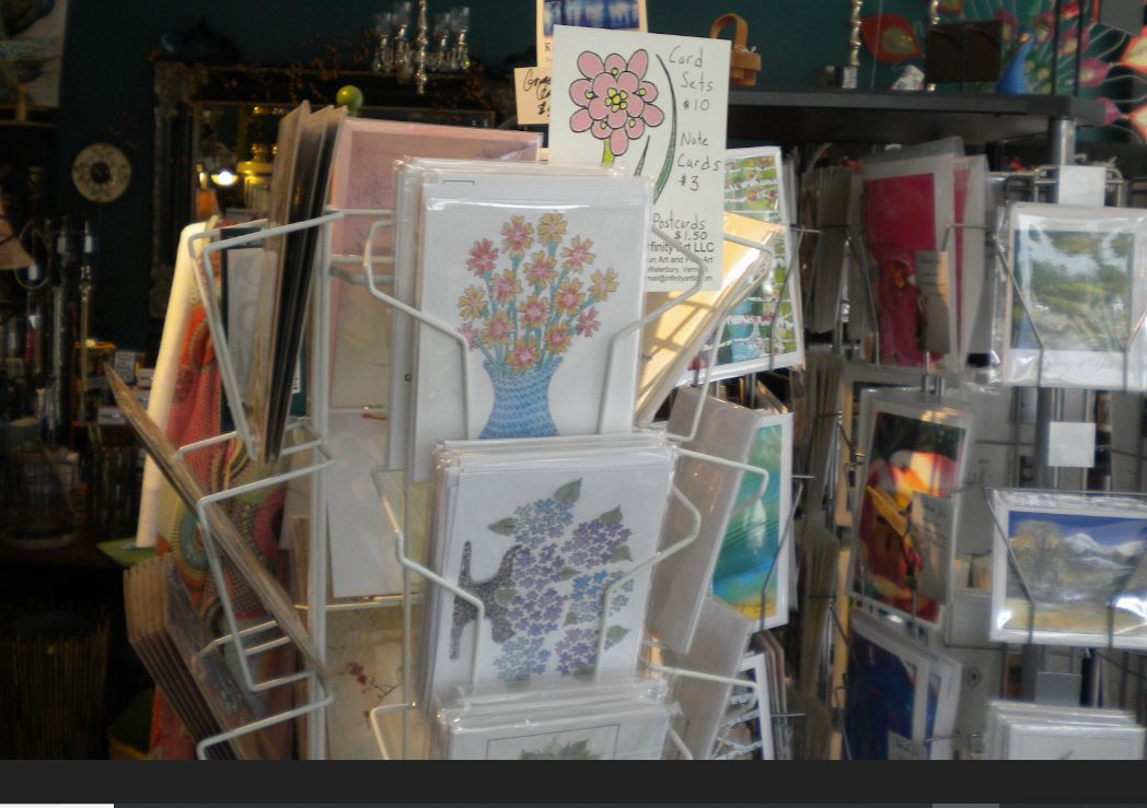 Photo of my multi-color cards on Consignment at Proud Flower, Waterbury, VT
