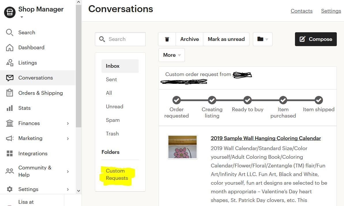 "Snipit of Etsy Shop Dashboard with details of the ""custom order"" feature on etsy."