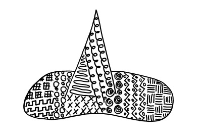 Scanned picture of the Black Witch's Hat from the 1QFY18 Postcard Set.