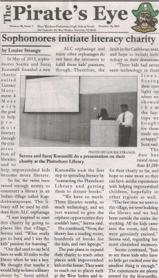 Pirate's Eye (West Windsor-Plainsboro High School South Newspaper) Article