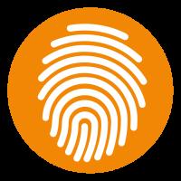 inique icon, thumb print