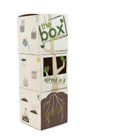 The Box was created to help consumers more easily grow their own trees. The package was divided into three separate, wax-coated boxes - one with plastic windows (like a greenhouse) for sprouting seeds, one for dirt to start the trees, and one with a pour spout to serve as a watering can.