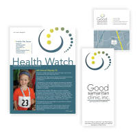 Good Samaritan print materials: business cards, brochure and newsletter