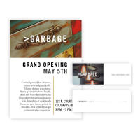 >Garbage Branding print materials; business cards and event promotion