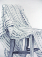 """Lined chair,"" Charcoal drawing of a chair covered in a striped sheet."