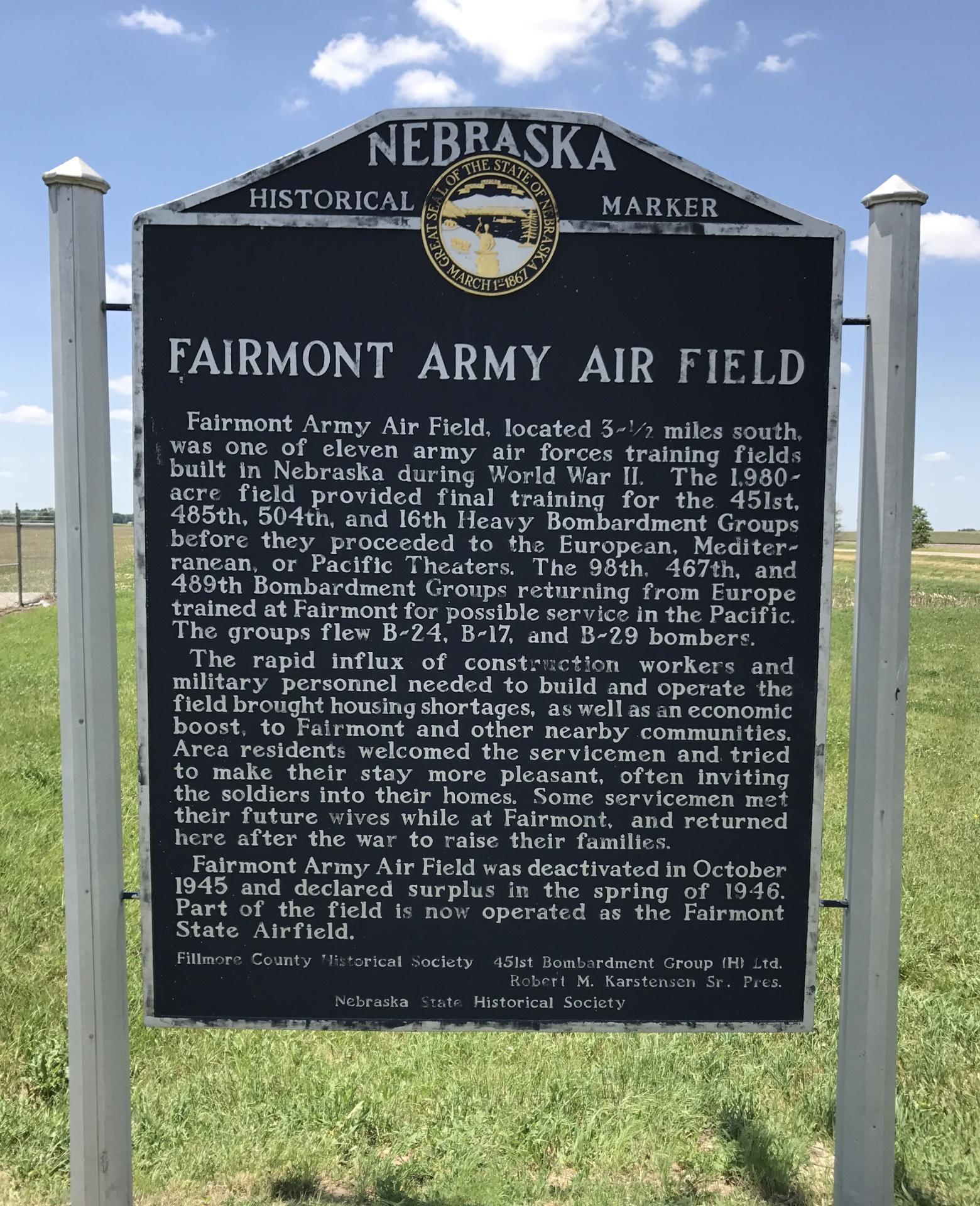 Fairmont Army Air Field - U.S Highway 6