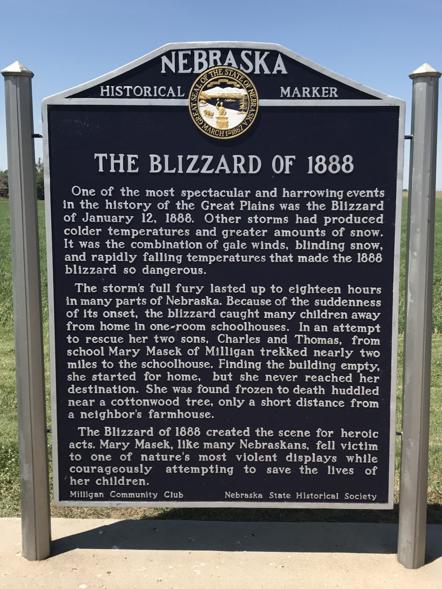 Blizzard of 1888 - NE HWY 41 E of Milligan