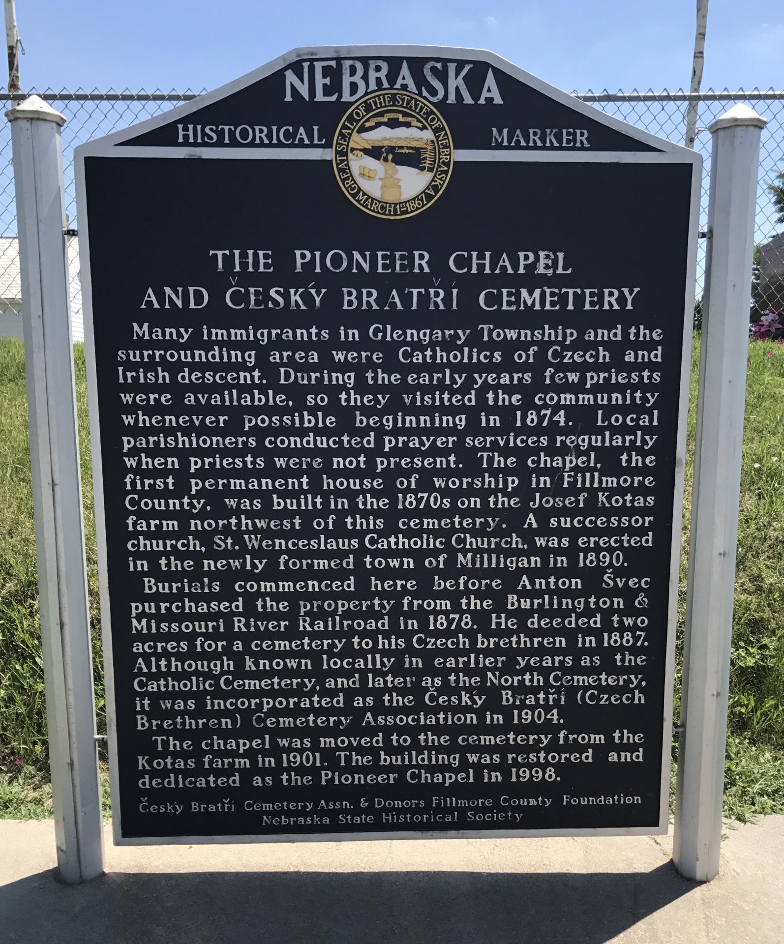 Cesky Bratri Cemetery - NE HWY 41 W of Milligan